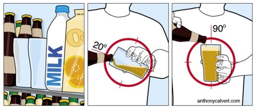 \'How to pour beer\' illustration for FHM Australia (July 2008)